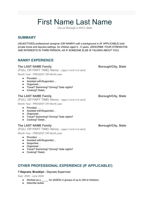 our nanny resume template